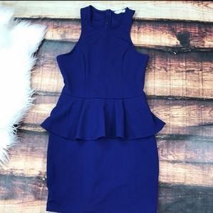Lush Royal Blue Peplum Dress